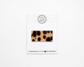 Leopard 'hair on' leather snap clip