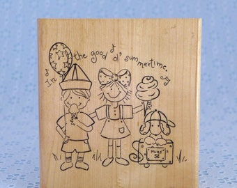 Good Old Summertime Stamp, Large Rubber Stamp, Summer Fun, Wood Mounted, Boy Girl Dog, Close to my Heart, CTMH, Paper Crafts, Card Making