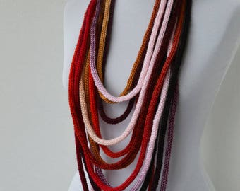 20% OFF SALE-Knit Scarf Necklace, Loop scarf, Infinity scarf, Neck warmer, Knit scarflette, in burgundy,gray,brown,beige,gold,red,black E104