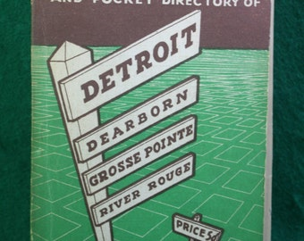 Vintage Rare 1947 Keystone Street Guide and Pocket Directory of Detroit with map and advertisements  Pre- WWII Free Shipping Domestic USA