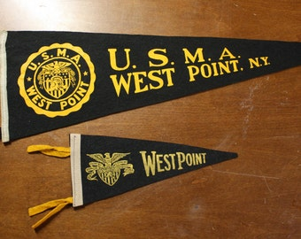 Vintage pair of scarce USMA West Point Felt Pennants