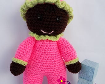Baby Girl Doll / Crochet Baby Girl Doll / My First Doll / Stuffed Baby Girl Watermelon Doll / Plush Watermelon Baby Girl Doll / Crochet Doll