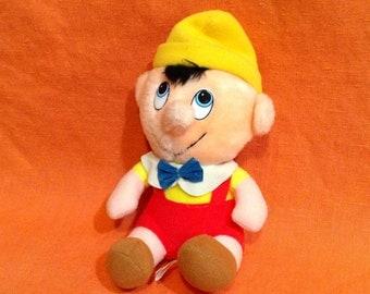 Vintage Pinocchio Plush Doll - Walt Disney Stuffed Animal - 1980s Disney Toy - Childrens Bedroom, Baby Room, Nursery