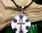Amethyst Orgone Pendant  - Ankh - Lightworker Jewellery - Crown Chakra Energy - Healing Crystal Pendant - Medium