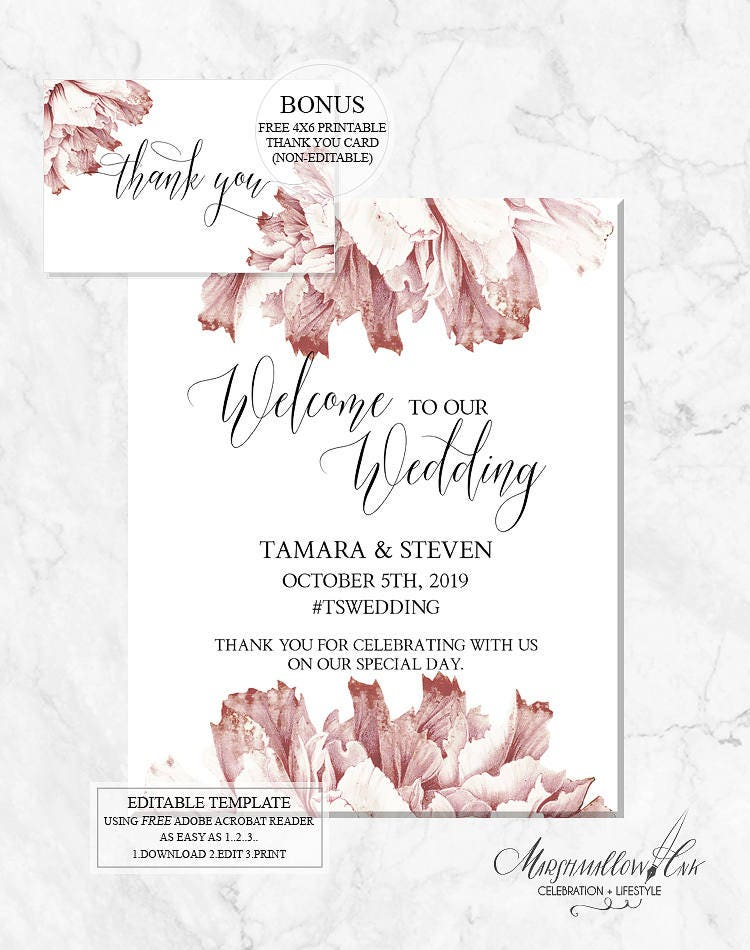 Wedding Signs, Printable Welcome Wedding Signs DIY Wedding Template, Welcome Sign PDF Wedding Printable, Wedding Reception Sign Decor Poster