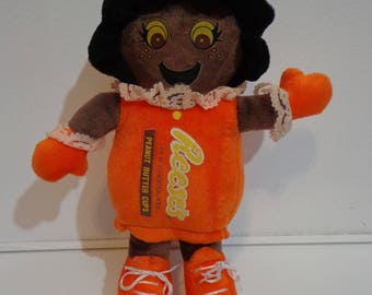 Rare Vintage Reese's Chocolate Peanut Butter Cup Stuffed Toy Girl Doll 80s 90s Collectible Nostalgia