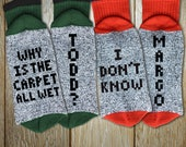 """Couples Socks Holiday Set """"Why Is The Carpet All Wet Todd - I Don't Know Margo"""" Unisex Thermal Crew Socks for Christmas, Ugly Sweater Party"""