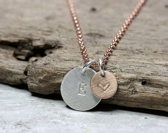 Silver necklace with pendant letter Silver/Rosè with letter, necklace Rosè gold plated, small pendant with heart, 925 silver