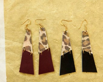 Leather leopard earrings gold