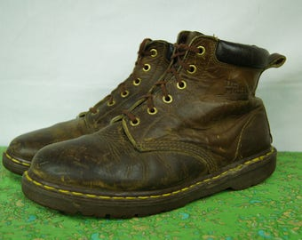 Vintage Doc Marten Six-Hole Brown Boots - Size 9 UK, 11 women's US, 10 men's US - Made in England - D316