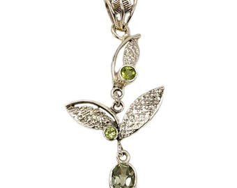 Floral Delight Sterling Silver Green Amethyst Peridot & .925 Sterling Silver Pendant , AF477 The Silver Plaza