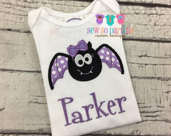 Girl Halloween shirt - Girl Halloween Clothes - Girl Bat Shirt - Halloween Baby Outfit - Baby Girl Halloween Shirt -  Girls Halloween shirt