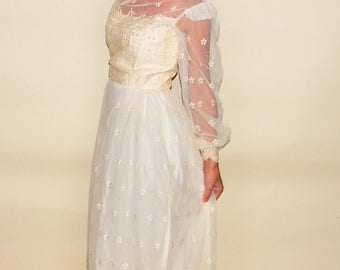 vintage lace wedding dress with sleeves tea length wedding dress 50s dress off white medium