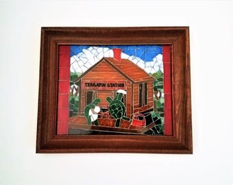 Grateful Dead Art Terrapin Station Album Cover Art Mosaic Picture, Deadhead Decor, Hippie Room Decor, One of a Kind Mosaic, Jam Band