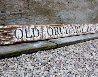 "Old Orchard Beach Maine Wood Sign Beach Decor Rustic Wood Sign Coastal Decor 48"""