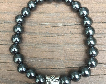 Hematite Beaded Stretch Bracelet with Owl charm