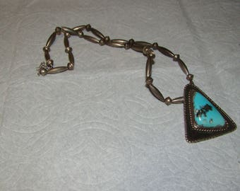 NA 2-X Sterling Native American Necklace with Turquoise Pendant
