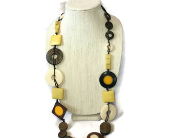 Mixed Media Long Necklace, Wood, Plastic, Cord, Geometric Necklace, Eclectic Circle, Square Earth Tone Beige, Brown, Orange, Yellow Discs