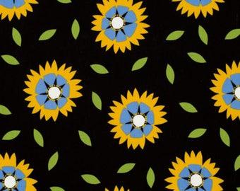Jane Sassaman, Free Spirit Fabric, Wild Child, Black, blue, yellow