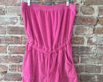 M/L / Vintage 70s Pink Terry Romper / Playsuit / Jumper / Beach Cover-up