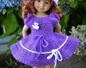 """13"""" Little Darling by Diana Effner Hand Knit OOAK 2pc OUTFIT for Summer Wear"""