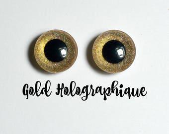 Eyechips 13 mm - color Gold holographic Pullip size models