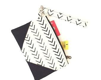 Mudcloth wristlet, wristlet clutch, wristlet, zip clutch wallet, zip clutch, black clutch purse, evening bag, clutch purses for women