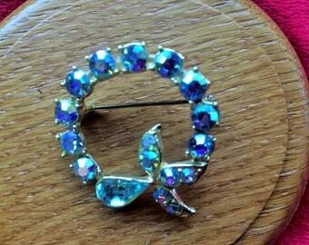 Blue Crystal rhinestone ribbon bow brooch