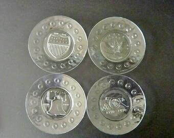 "Set of Four Bicentennial Plates 1776 - 1976  8"" Diameter Clear Glass Anchor Hocking"