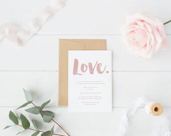 Neutral Rose Wedding Invitation, Save The Date, Elegant, Modern Floral Printable Invite