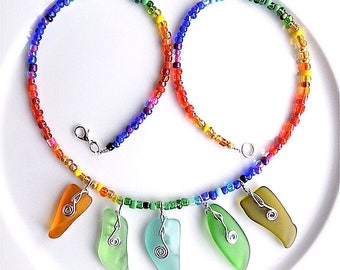 Sea glass sharks tooth necklace, rainbow colours.