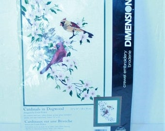 """Dimensions Crewel Embroidery Kit #1516 Cardinals In Dogwood New sealed Vintage 1998 11"""" x 15"""""""