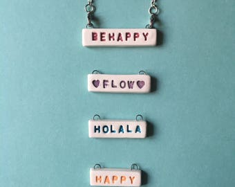 Necklace WORDS WORDS Custom made in white ceramic