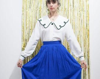 1980s Saks 5th Ave Cobalt Blue Skirt // Black Polka Dot Paisley Midi Skirt w Pockets sz XS