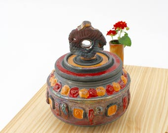 Handmade Red and Copper Raku Jar #03, Ceramic Raku Jar, Lidded Pottery Jar, Ceramic Urn