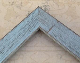 Rustic Cottage Blue Picture Frame 4x4, 4x6, 5x5, 5x7, 8x8, 8x10, 8.5x11, 11x14  Blue Beach Cottage Custom Frame