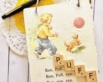 Puff the Cat Junk Journal/Vintage Sally Dick and Jane/20 Page Journal and Ephemera Kit