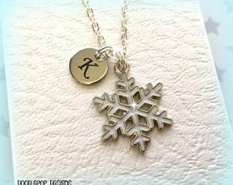White snowflake necklace - Personalised charm necklace - Christmas jewellery - Snowflake charm - Snowflake jewellery - Initial necklace - UK