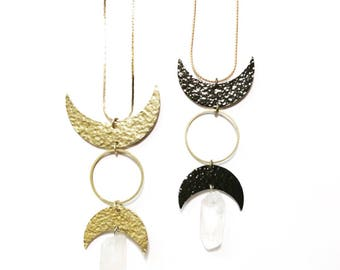 Selene Goddess Necklace with Hammered Crescent Moons and Quartz Crystals / Gold or Gunmetal