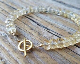 AAA Citrine Bracelet and 24K Gold Vermeil, Hill Tribe Silver, November Birthstone, Staggs Lane, Artisan Jewelry, Tennis Bracelet