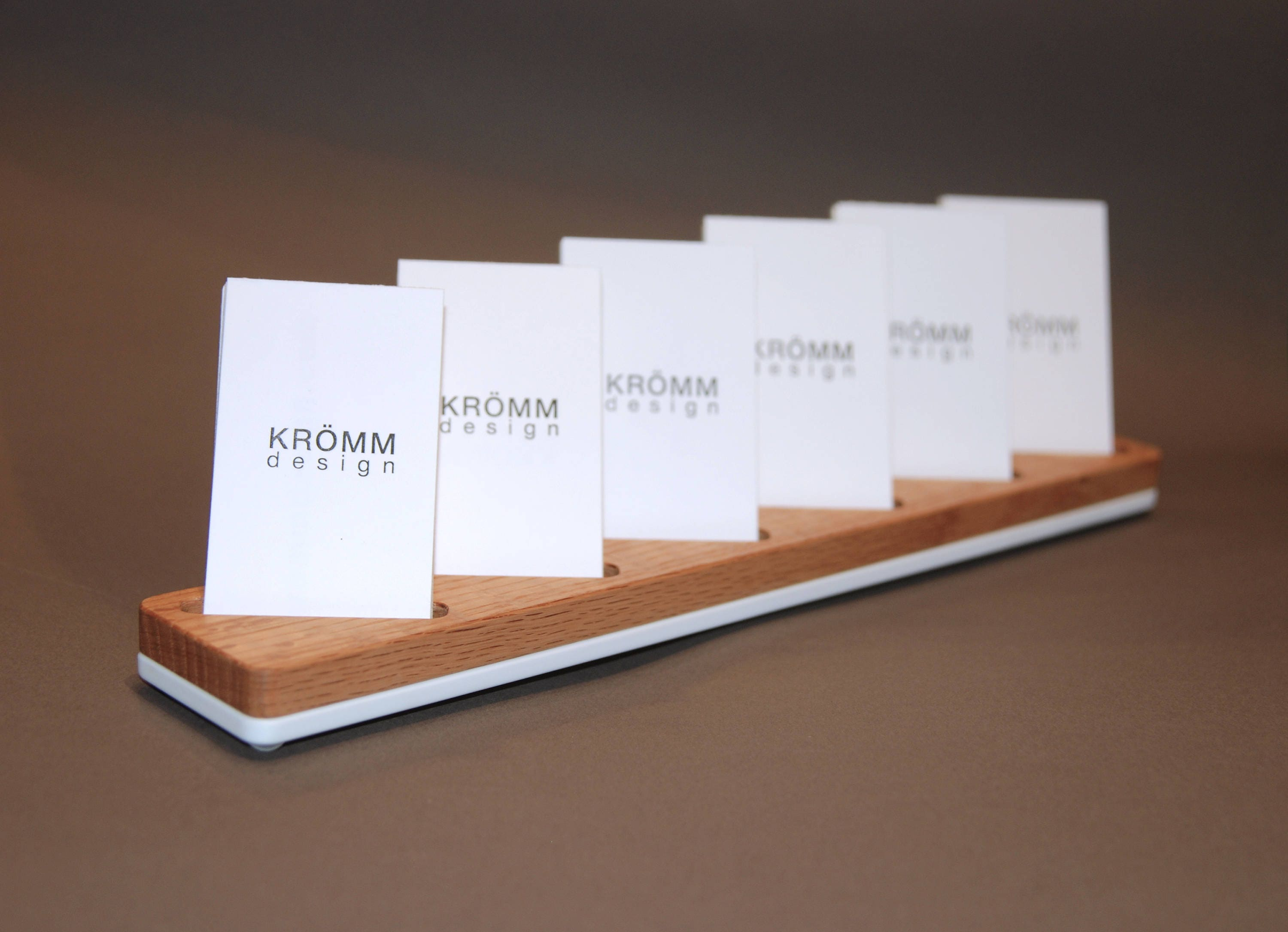 Multiple MOO Business Card Stand / Oak Wood and White Acrylic ...