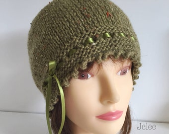 Green Tweed Hat, Sage Beanie, 1920s Gatsby Cap, Womens Wool Hat, Knitted Hats, Fancy Ribbon Lace, Womens Gift Hat, Christmas Gift Hat