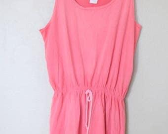 vintage 1980s  coral pink nautical  sun dress romper