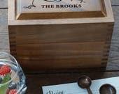 Heirloom Recipe Box, Personalized wedding present recipe box, Acacia wood custom recipe box