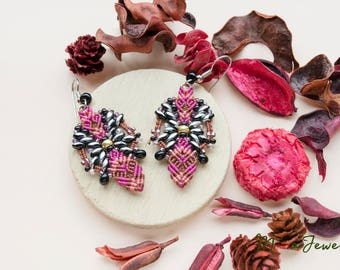 Macrame earrings, minimalist, beaded, beadwoven, beadwork, gift for her, gypsy, boho, magenta black silver, lightweight, sale, summer trends
