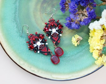Macrame beaded earrings, elegant, black red white, boho chic, dangle, micro-macrame jewelry, beadwork, beadwoven, dressy, casual, Ukrainian