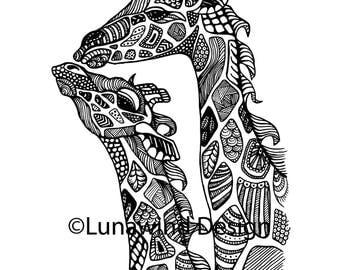 Giraffes Giraffe Artwork Coloring Nursery Design Children Art Zentangle Printable Instant Digital Download Page Adult
