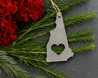 Love New Hampshire Christmas Ornament State Rustic Aluminum Holiday Gift Home Fall Decor Wedding Gift for Her Iron Maid Art Personalized