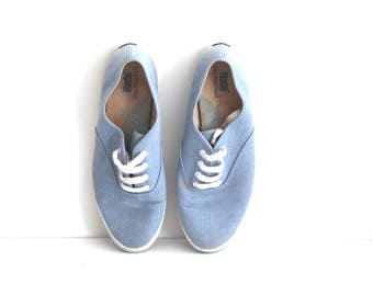Vintage 80s keds shoes blue chambray jean canvas womens 9