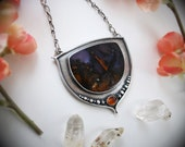 Midnight Garden Necklace - Amethyst Sage Agate and Hessonite Garnet Sterling Silver Pendant - Large Purple & Orange Gemstone Jewelry -